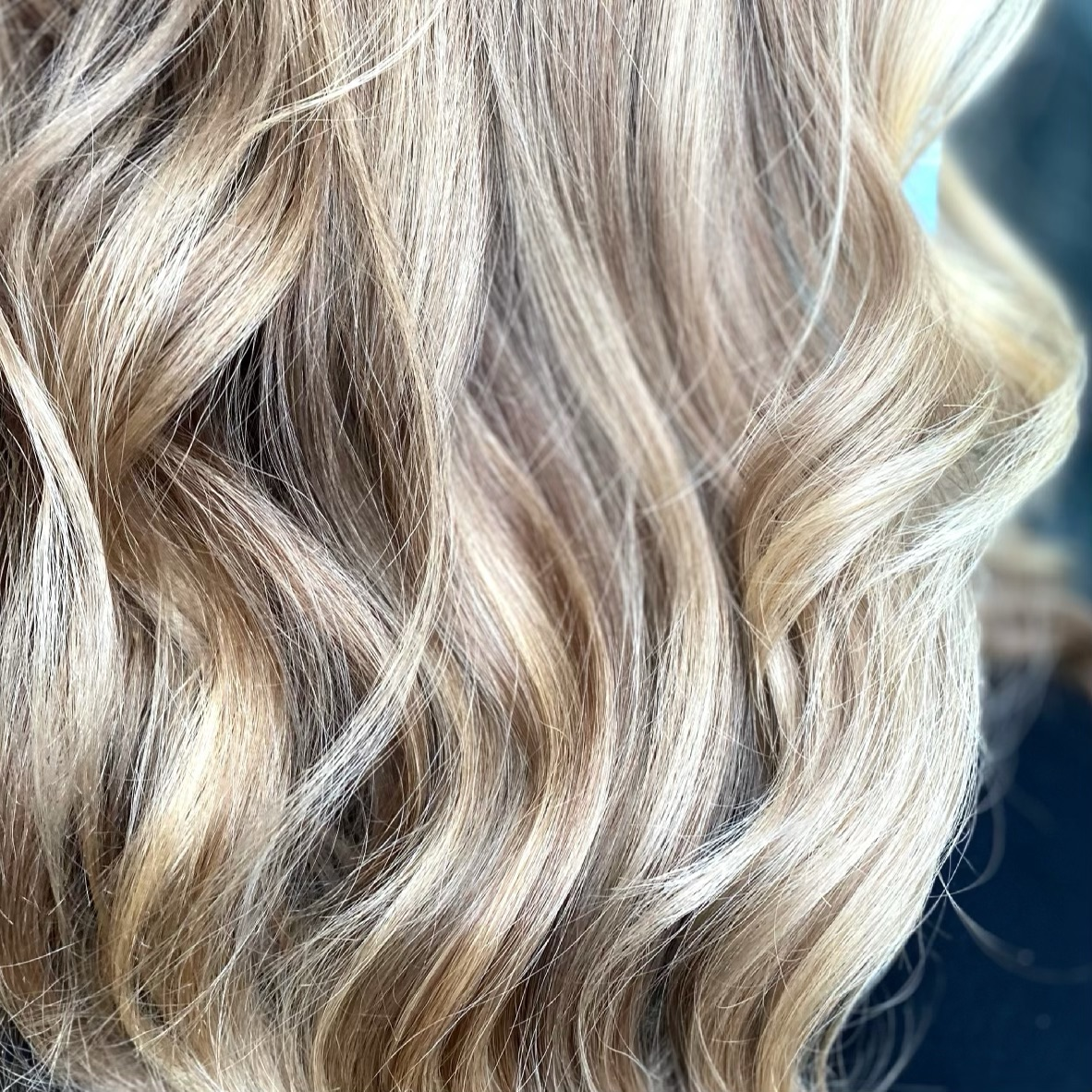Up-close blonde highlights