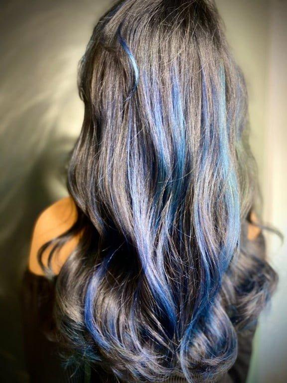 Ania Hair Salon_ dark hair with blue highlights